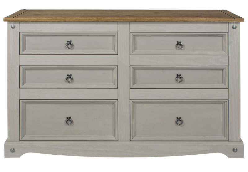 Coson Grey Pine 3+3 Wide Chest Of Drawers