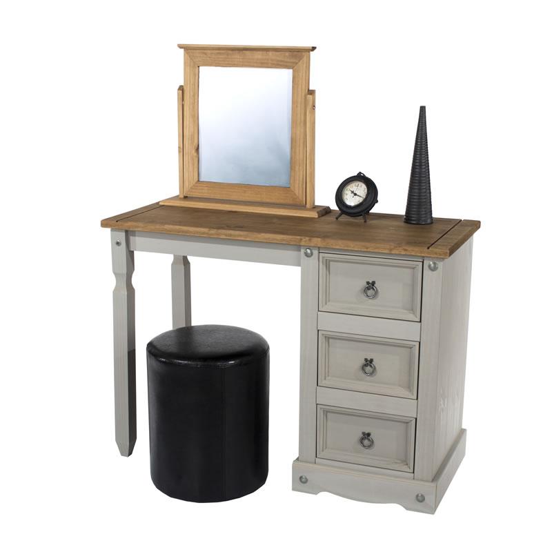 Coson Grey Pine Single Pedestal Dressing Table