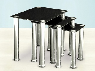 Limpid Glass Nest Of Tables - Black