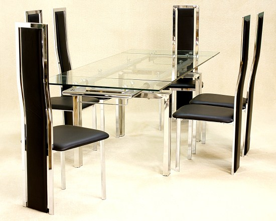 Casa Extending Glass Table With 6 Padded Chairs