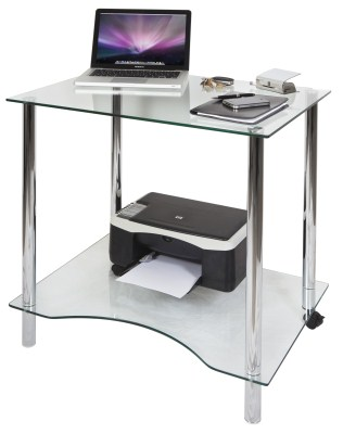 Taka Workstation - Chrome And Crystal Glass
