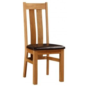 Camba High Back Kitchen Dining Chair Solid Oak Frame Pvc Padded Seat
