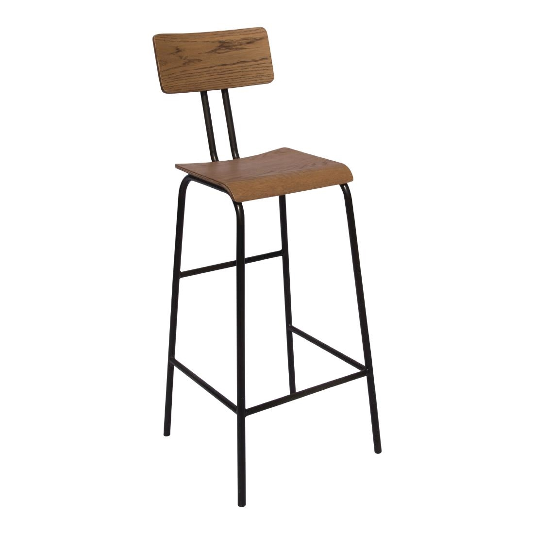 2x Dalerio Wood And Metal High Bar Stool With Back Fully Assembled Industrial Aged Urban Look Style