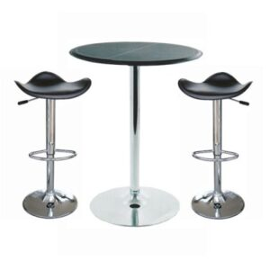 Dall Round Chrome And Wooden Top Tall Kitchen Bar Table And 2 Stools