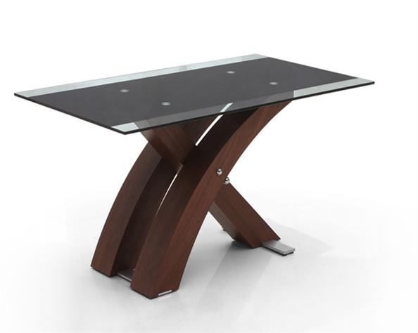 Zapian Large Walnut And Glass Rectangular Dining Table