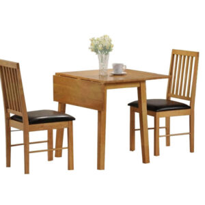 Paray 2 Seater Dining Set In Pine And Brown Drop Leaf Space Saving Table
