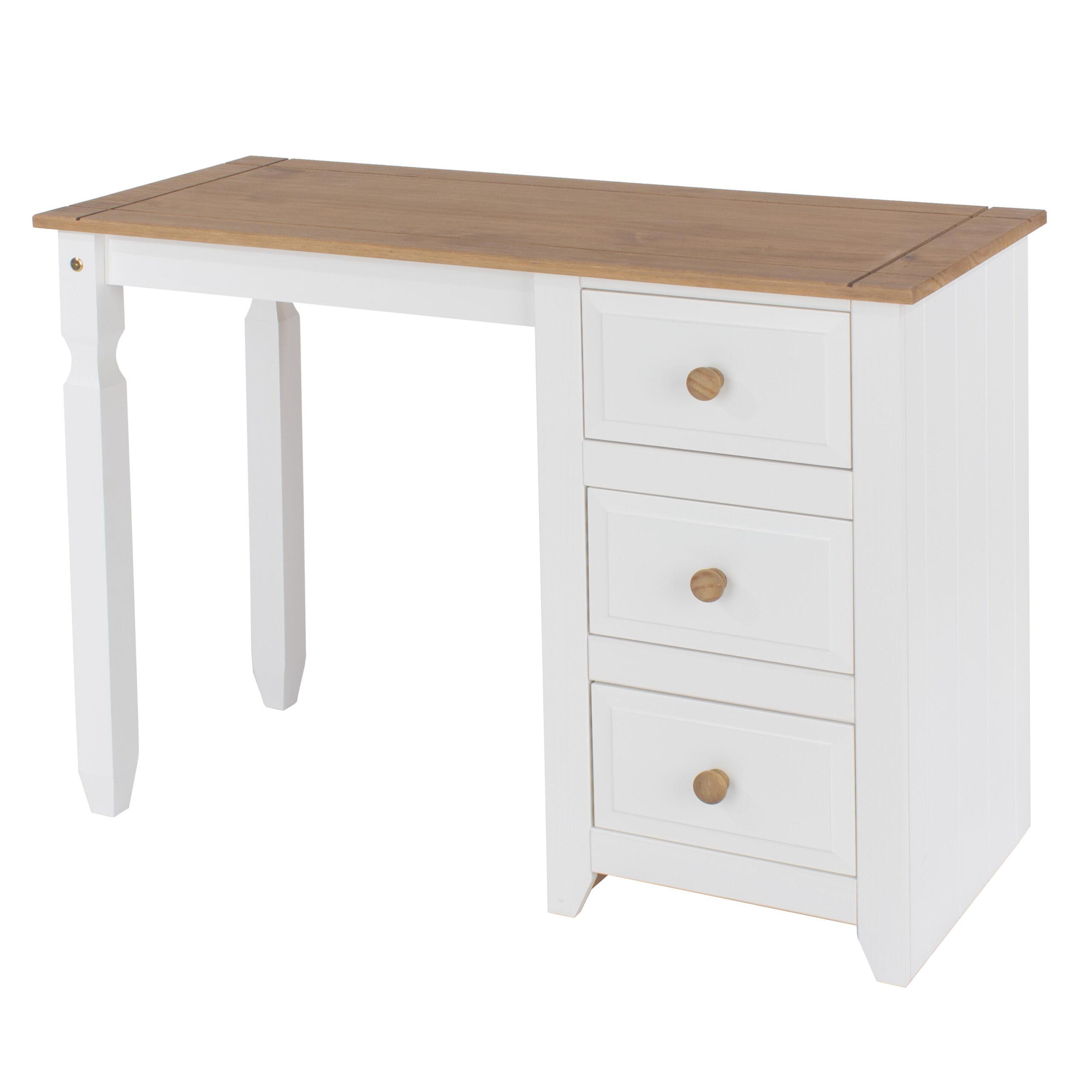 Shelton Pine And White Single Pedestal Dressing Table
