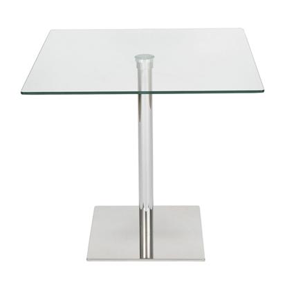 Reyes Large 80 Cm Square Glass Kitchen Dining Table Chrome Frame