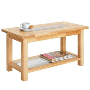 Dapony- Solid Wood And Glass Rectangular Coffee Table - Natural