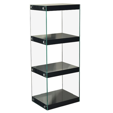 Neris Medium Dvd Cd Display Stand - Glass With Black Gloss Shelves