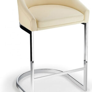 Ikany Fixed Height Breakfast Chrome Bar Stool With Cream Padded Seat