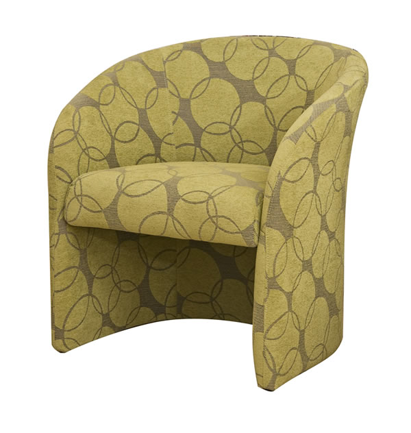 Apon Green Tub Chair Unique Circle Patterned Fabric Covered With A Soft Finish