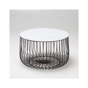 Eventa Large Cage Table Marble Top Black Frame
