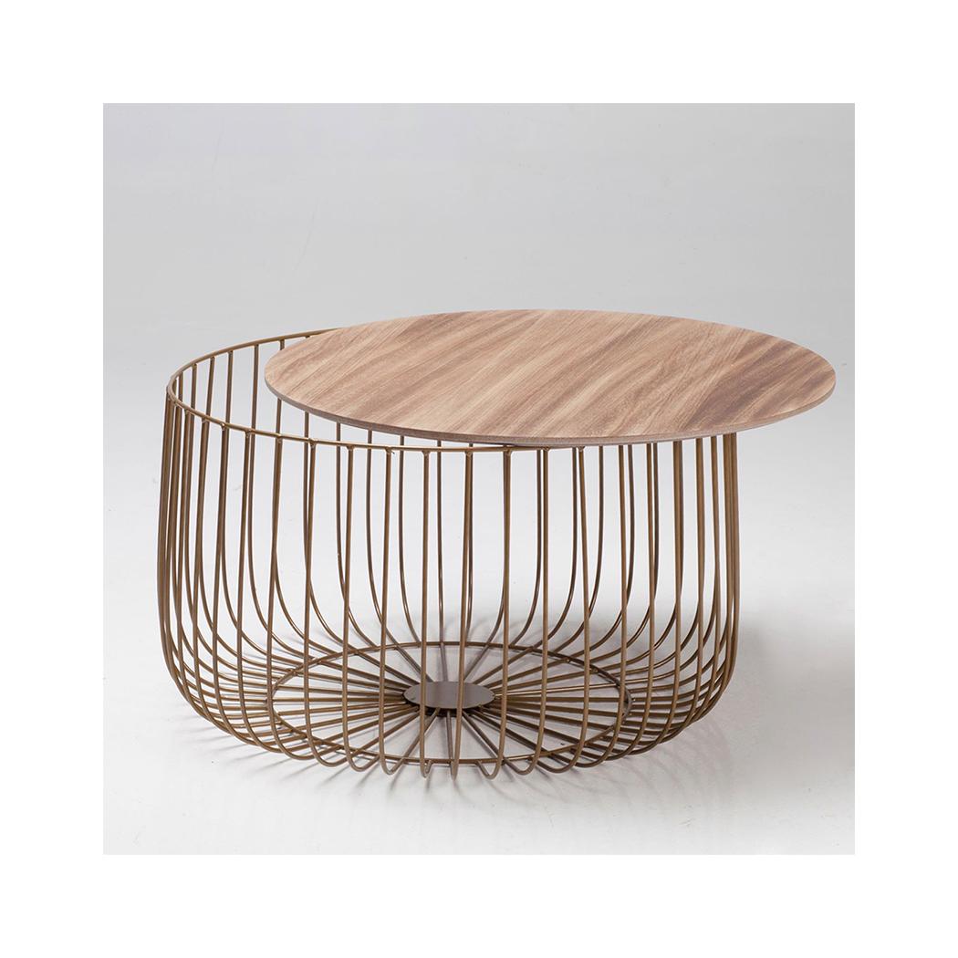 Eventa Large Cage Table Oak Imitation Marble Top Gold Frame
