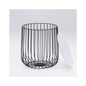 Eventa Small Cage Table Black Frame- Imitation Marble Top