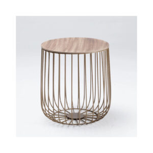 Eventa Small Cage Table Gold Frame Oak Marble Top
