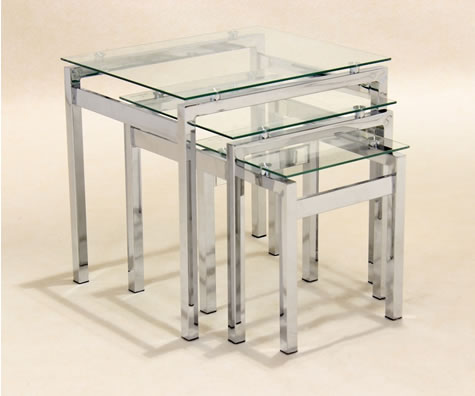 Epsmy Modern Stylish Coffee Table Nest Clear Glass Shiny Chrome Frame
