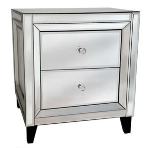 Madison Sophisticated Mirror Glass Side Table - 2 Draws
