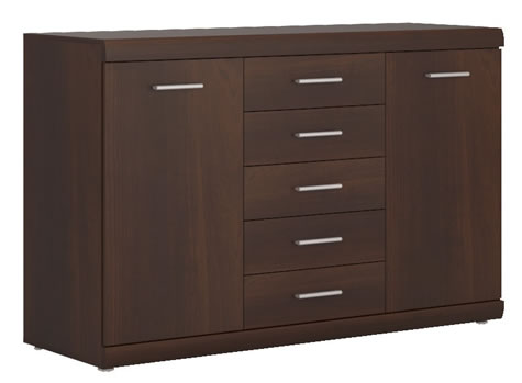 Avison 2 Door 5 Drawer Sideboard In Dark Mahogany Melamine.