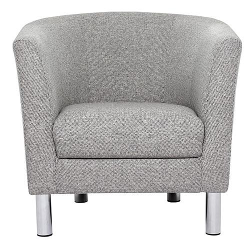 Ontary Tub Arm Chair 1 Seater Nova Light Grey Fabric