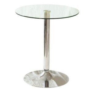 Tonkey Clear Glass Table Chrome Round Small Kitchen Dining Table