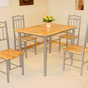 Globe Silver And Wood Dining Table With 4 Chairs