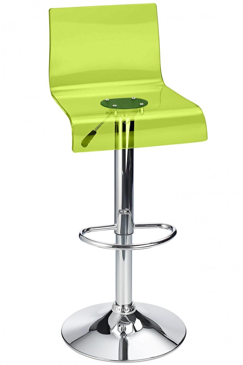 Snazzy Adjustable Acrylic Kitchen Bar Stool Green