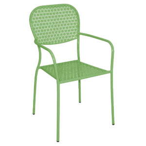 Gazone 4 Armchairs Stackable Outdoor Use Green Steel Patterned Bistro Chairs Fully Assembled