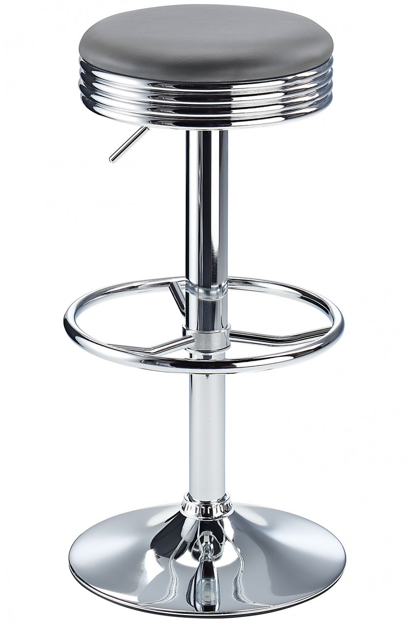 Calif American Diner Style Retro Kitchen Adjustable Bar Stool - Grey