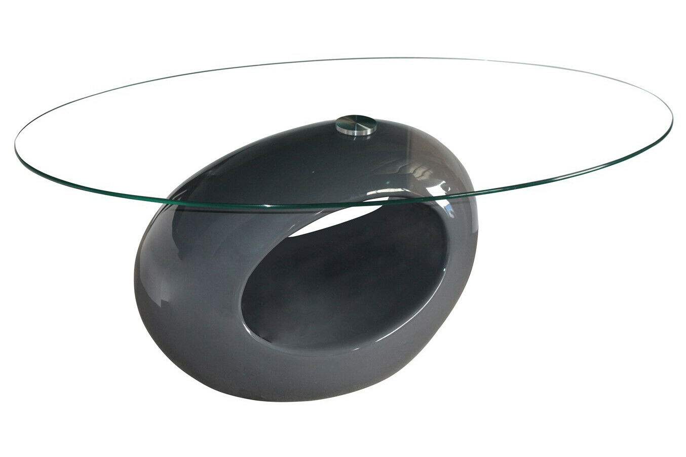 Genevey Mink Grey Glass Gloss Modern Contemporary Coffee Table