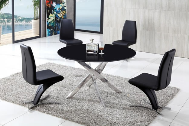 Jess Large Round Black Glass Modern Kitchen Dining Table Set Stainless Steel Base