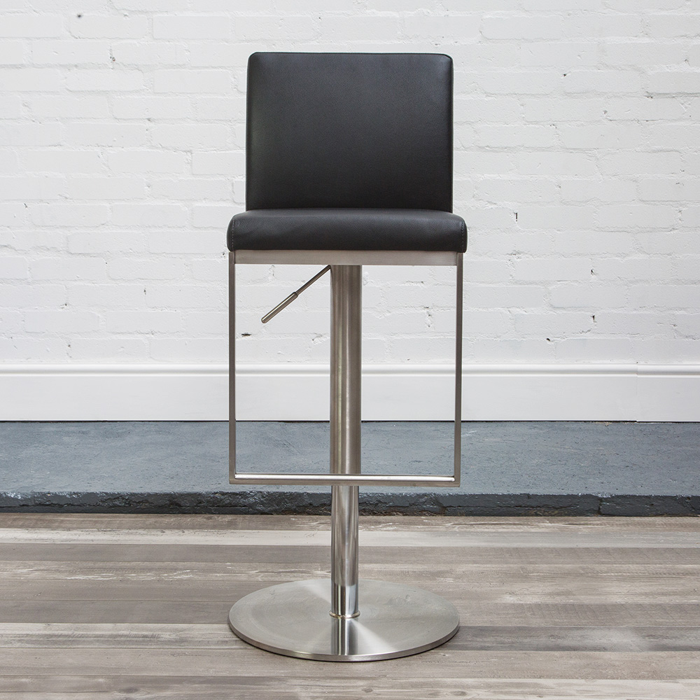 Cadoc Adjustable Brushed Steel Kitchen Bar Stool - Variety Of Colours - Taupe