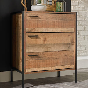Hector 3 Drawer Chest Distressed Oak Effect