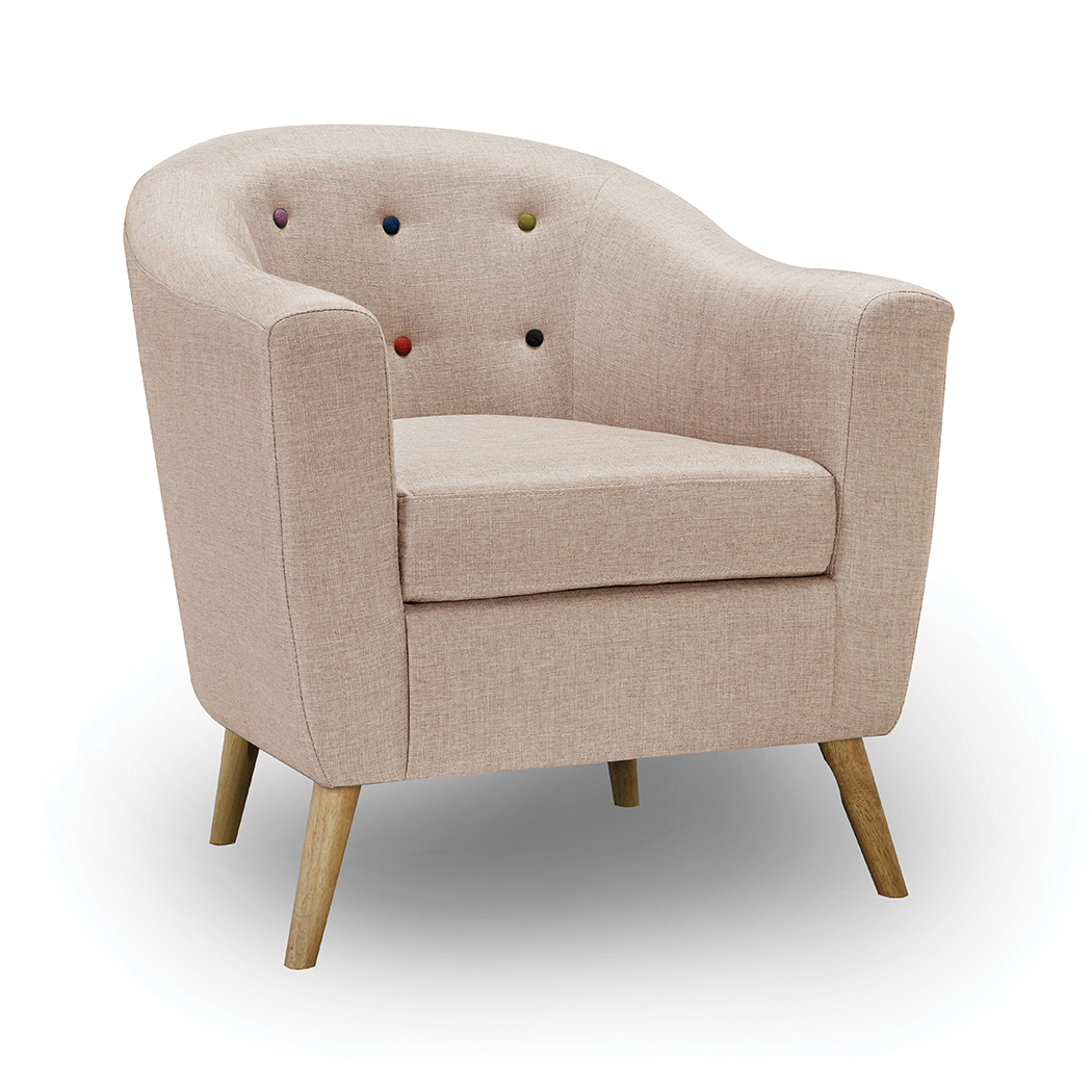 Hews Chair With Buttons Beige