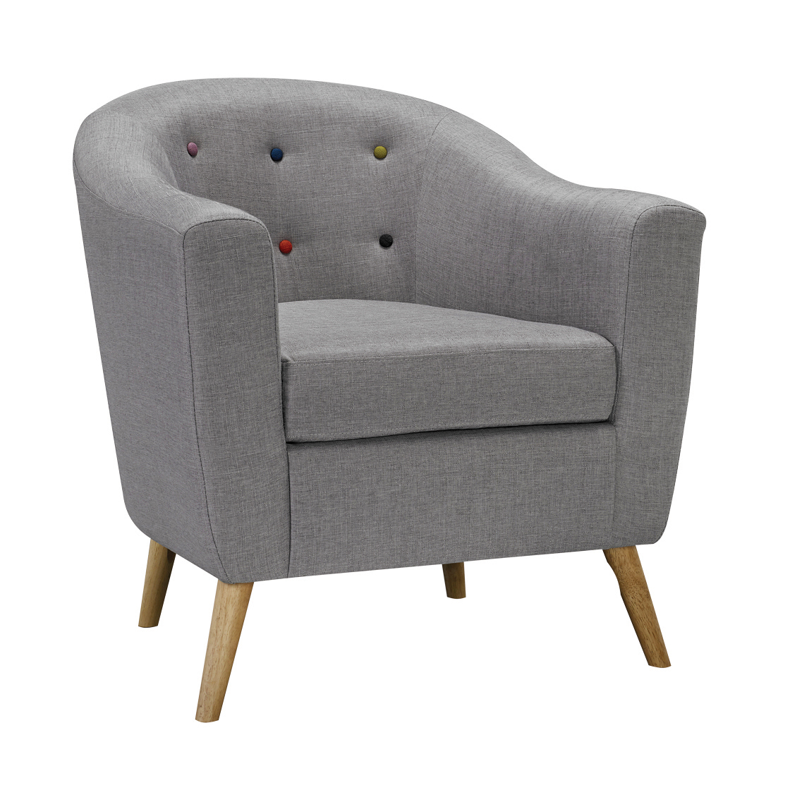 Hews Chair With Buttons Grey