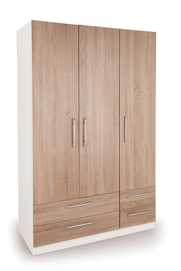 Eitan Quality Bedroom 3 Door Combi Wardrobe - Oak Doors White Or Oak Frame