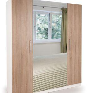 Eitan Quality Bedroom Double Mirror Wardrobe - Oak Doors White Or Oak Frame