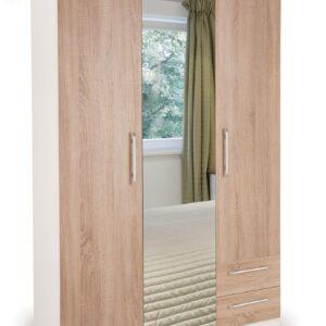 Eitan Quality Bedroom Combi Mirror Wardrobe - Oak Doors White Or Oak Frame