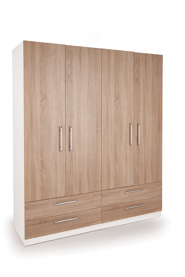 Eitan Quality Bedroom Double Combi Wardrobe - Oak Doors White Or Oak Frame - Oak
