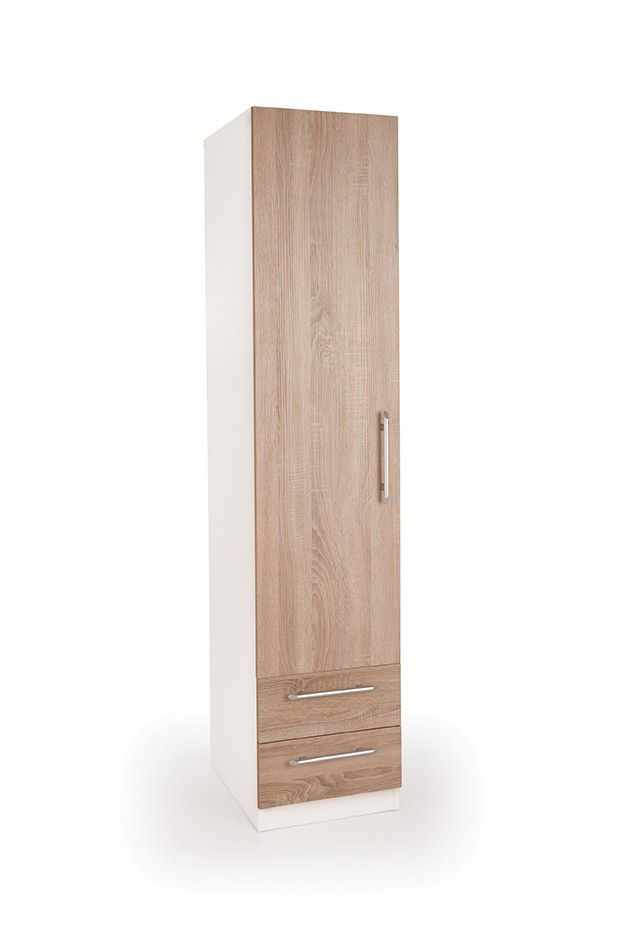 Eitan Quality Bedroom Single Combi Wardrobe - Variety Of Colours - Oak
