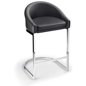 Ikany Fixed Height Breakfast Chrome Bar Stool With Black Padded Seat