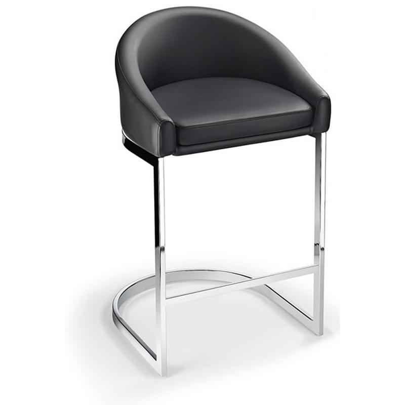 Ikany Fixed Height Breakfast Chrome Bar Stool With Black Padded Seat