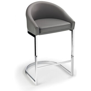 Ikany Fixed Height Breakfast Chrome Bar Stool With Grey Padded Seat
