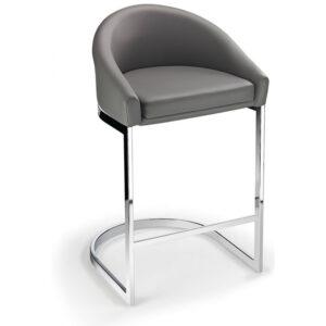 Ikany Fixed Height Breakfast Chrome Bar Stool With Grey Padded Seat