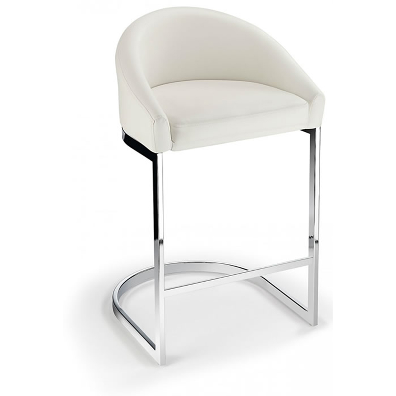 Ikany Fixed Height Breakfast Chrome Bar Stool With White Padded Seat