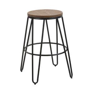 Nora Wood Seat With Black Metal Hairpin Legs Bar Stool