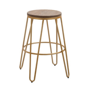 Nora Wood Seat With Gold Effect Hairpin Legs Bar Stool