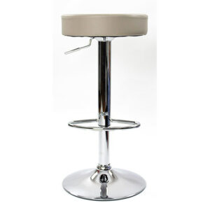 Impresa Adjustable Bar Stool With Grey Faux Leather Padded Seat And 360 Degree Swivel