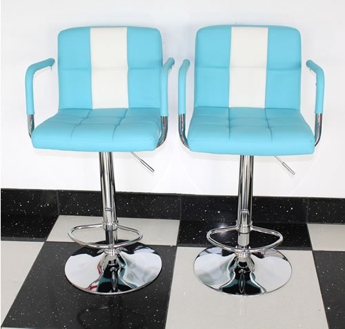 Boston Retro Style Bar Stool American Diner Style Blue And White Padded Seat Height Adjustable