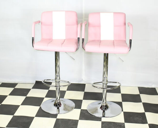 Boston Retro Style Bar Stool American Diner Style Pink And White Padded Seat Height Adjustable